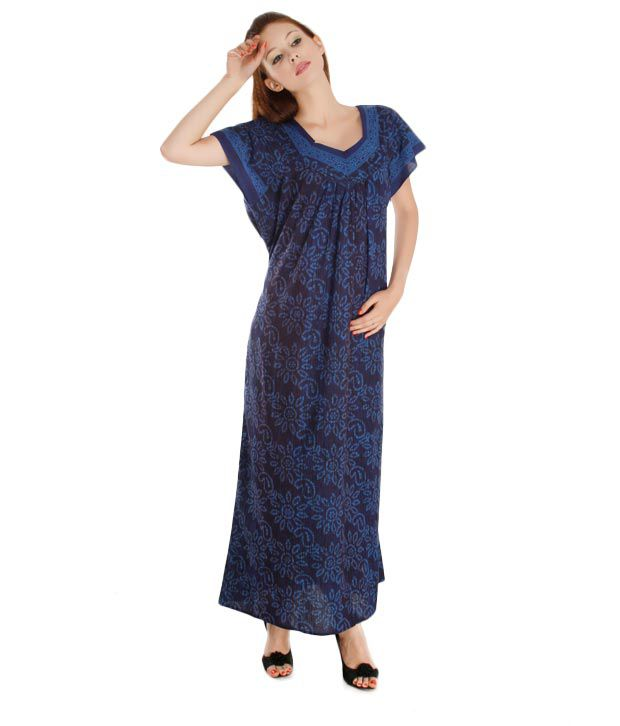 Plums And Peaches Purple Black Cotton Nighty