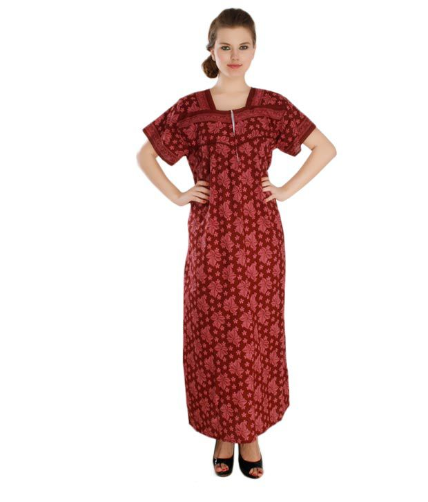 Plums And Peaches Elegant Cotton Nighty