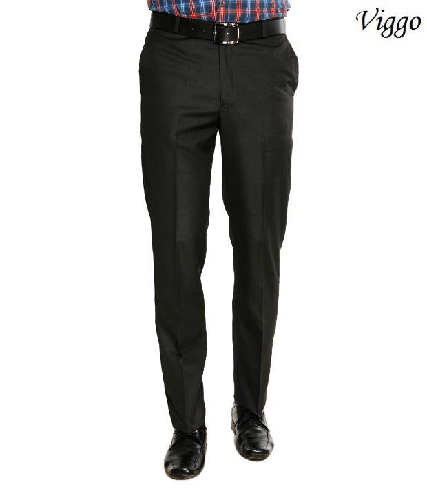 Viggo Posh Black Formal Trousers