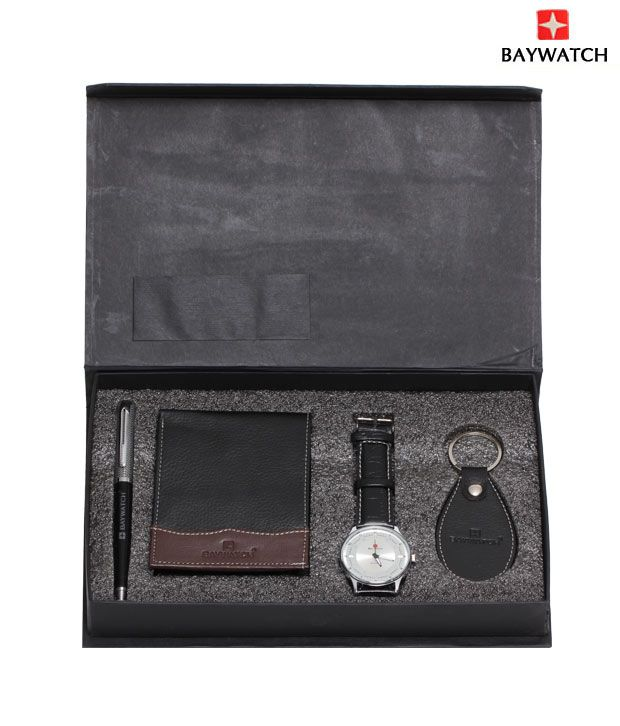 Baywatch Silver Watch Combo With Pen Wallet & Key Chain