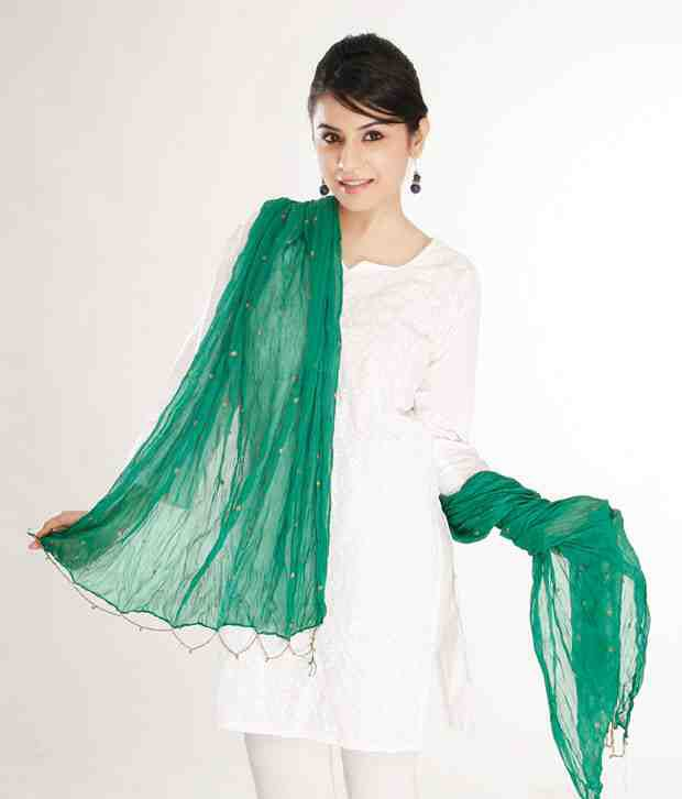 Goodiebag-Metalgreen Chiffon Dupatta