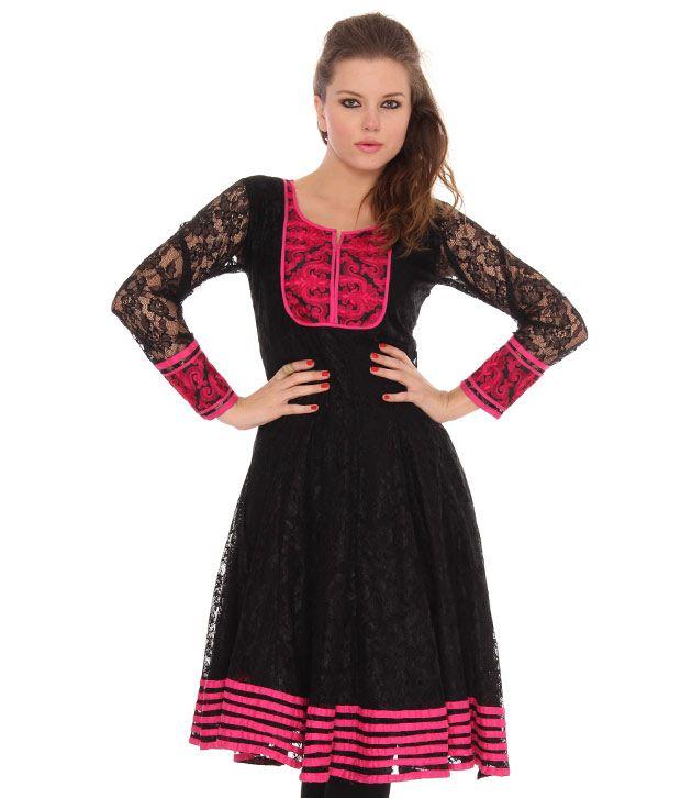 Neels Black-Pink Net Embroidered Anarkali Kurti