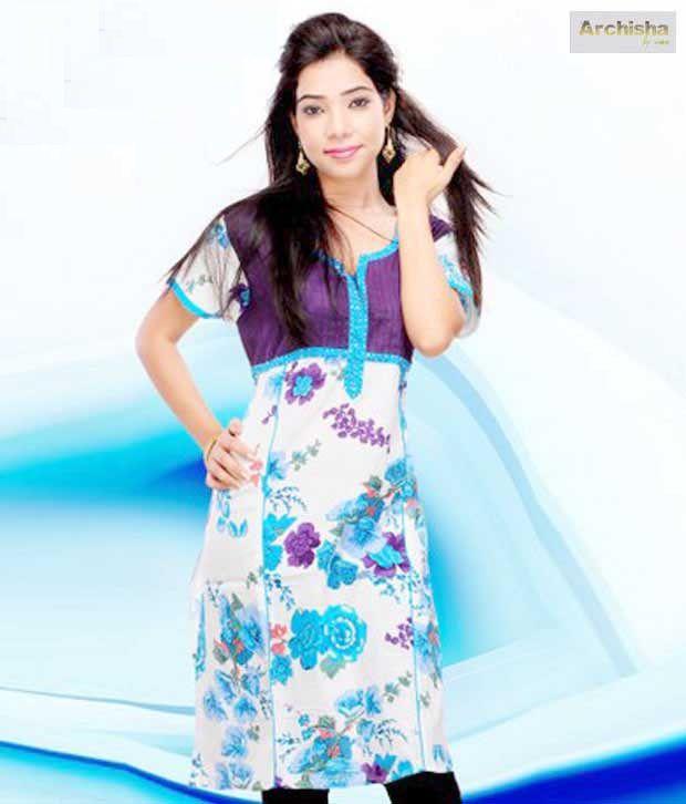 Archisha Purple- Blue Designer Kurti