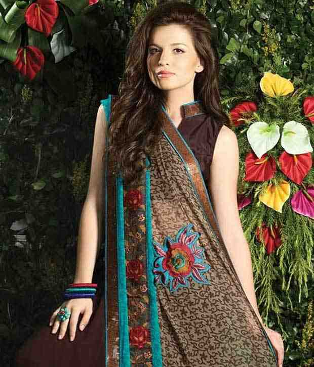Prafful Smart Brown Embroidered Saree With Blouse Piece