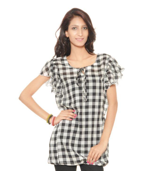 Sritika Black-White Checkered Kurti