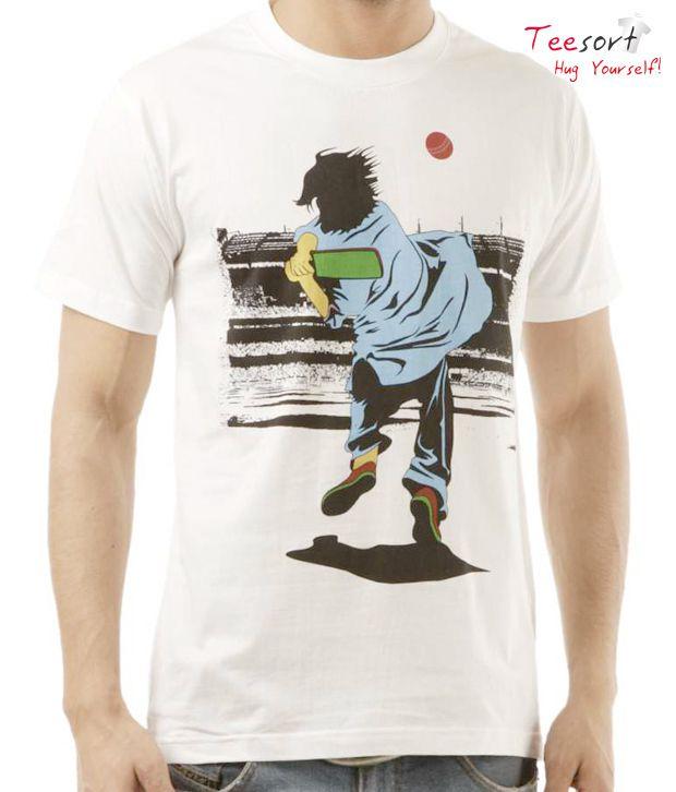 Teesort White Cric Fever  T-Shirt