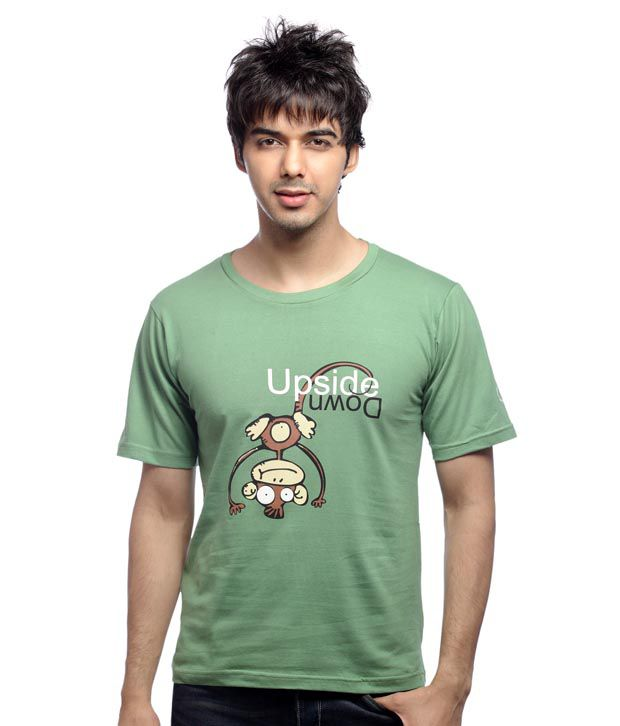 Inkfested Men's Upside Down Green T-shirt