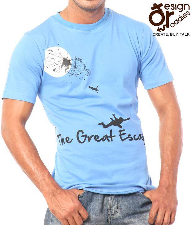 Design Roadies The Great Escape Men'S Blue T-Shirt