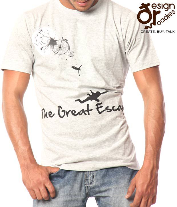 Design Roadies The Great Escape Men'S Grey T-Shirt