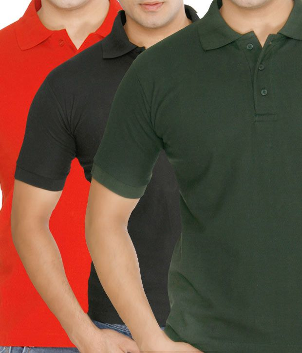 Weardo Red-Green-Black Pack Of 3 Polo T-Shirts