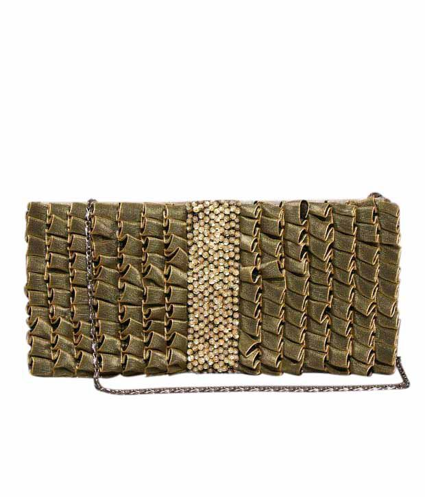 Bolso Olive Green Stone Studded Frilly Clutch