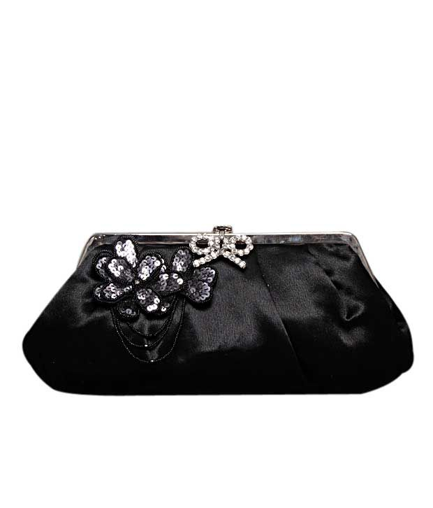 Bolso Black Floral & Sequin Broach Clutch