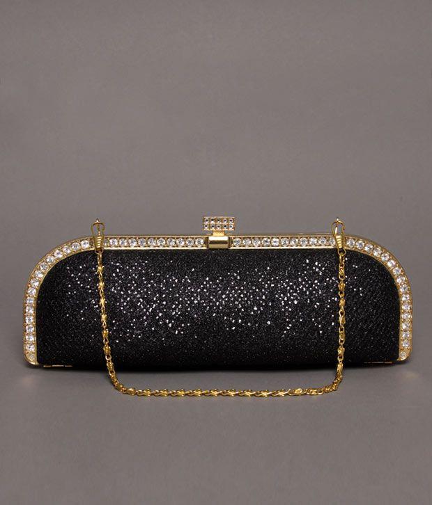 Bolso Shimmery Black Stone Studded Clutch