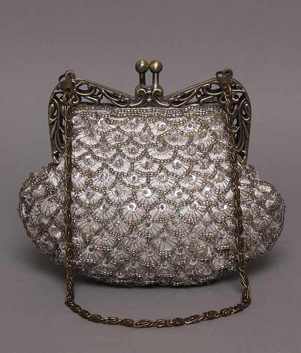 Bolso Silver & Bronze Fan Design Beaded Clutch