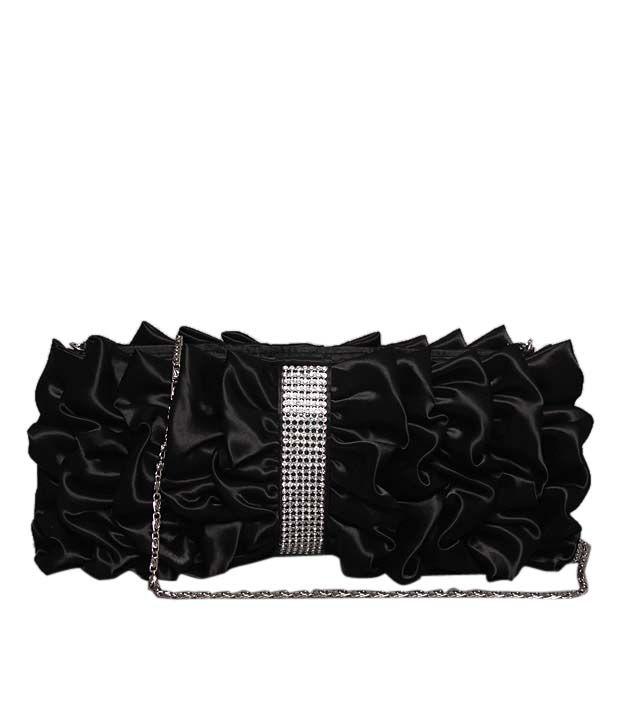 Bolso Chic Black Frill Crystal Studded Clutch