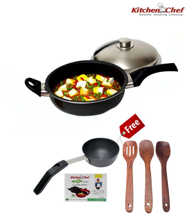 Kitchen Chef 245 mm Round Dome Pan With Lid With Free Tadka Pan, Spatula Set & Nita Mehta Recipe Book