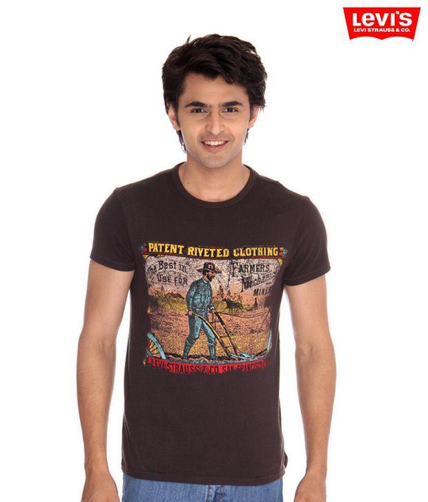 Levis Dark Brown Trendy T-Shirt