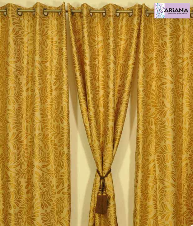 Ariana Paisley Golden Xl Door Curtains Buy Ariana Paisley Golden
