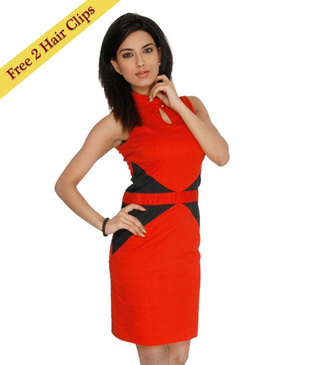 ANS Red & Black Stylish Dress