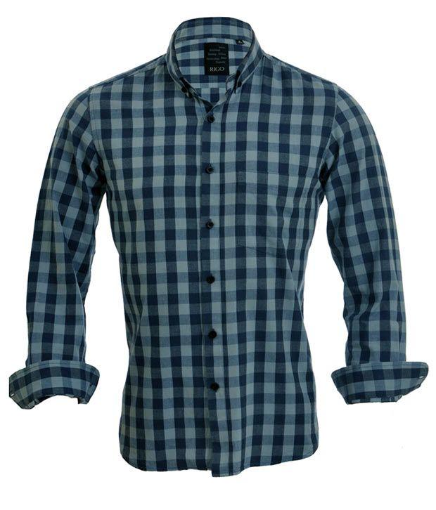 Rigo Light and Dark Blue Check Casual Shirt