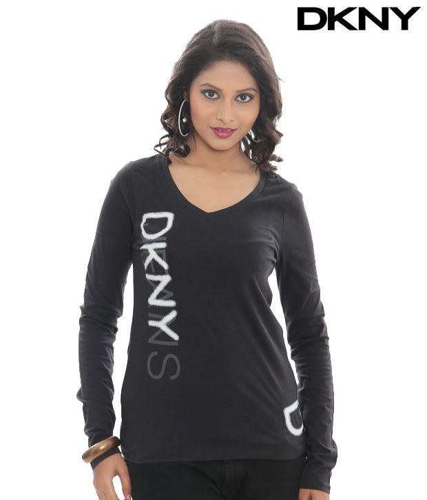 DKNY Black Glow Logo Skinny V-Neck Top