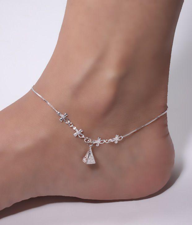 Erato Elegant Silver Anklet