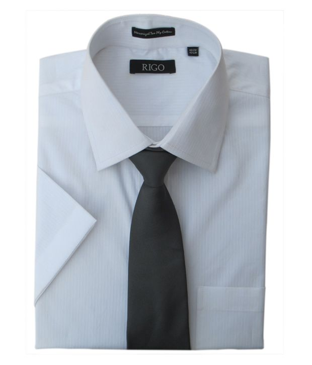 Rigo Self Stripes White Dobby Formal Shirt