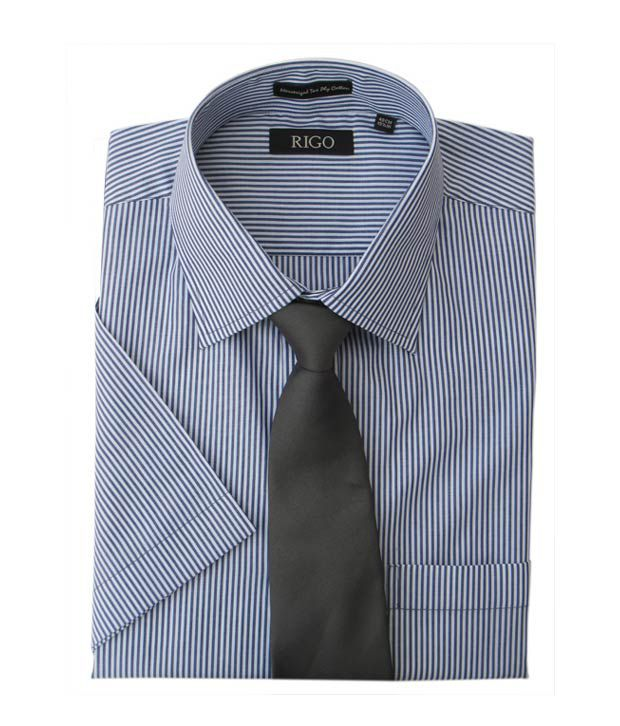 Rigo Dark Blue and White Stripes Formal Shirt