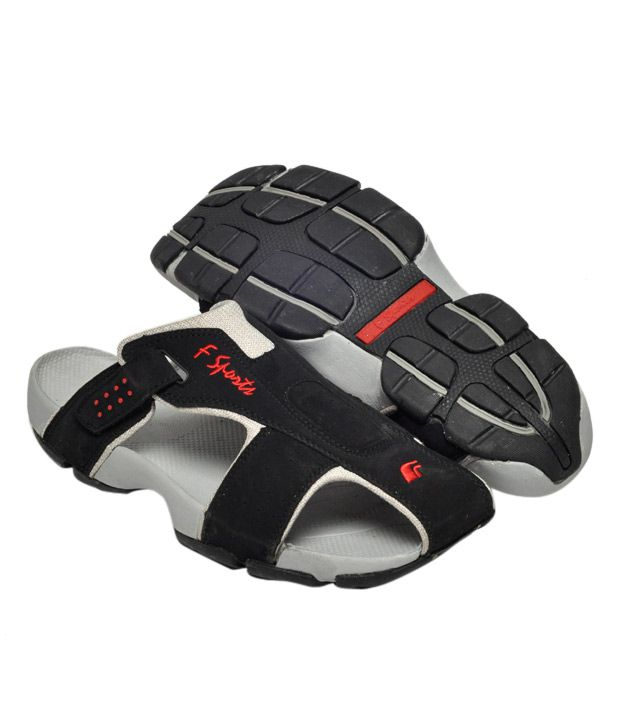 F Sports Black Floater Sandals - Buy F