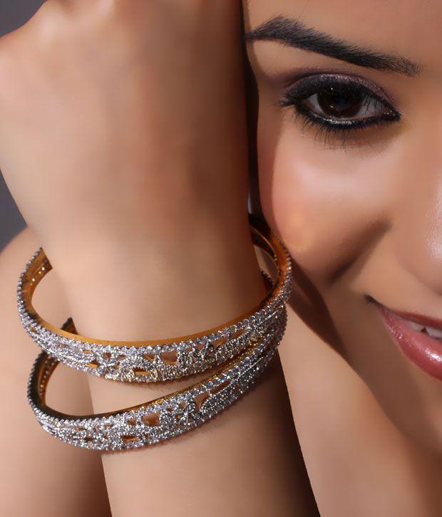 NJE Appealing American Diamond Bangle Pair