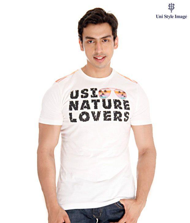 USI White Nature Lover T-Shirt