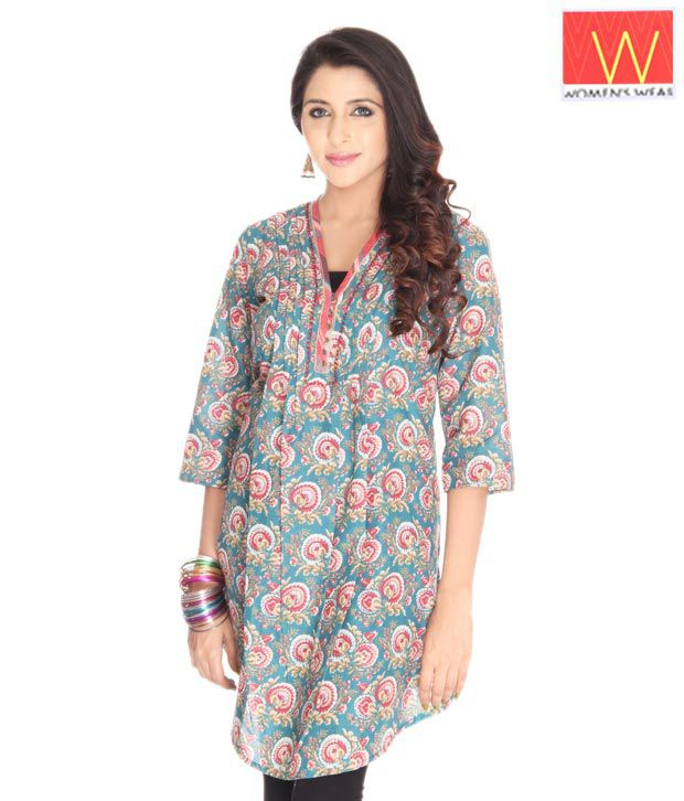 W Sea Green Flowery Printed Kurta