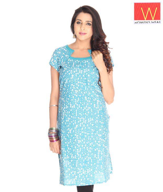W Turquoise Blue Ethnic kurta