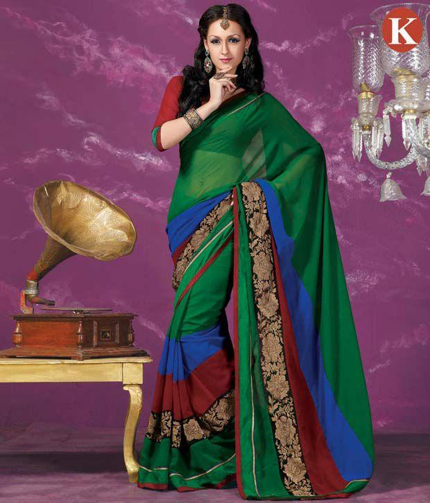 Khazana Green Semi Chiffon Saree