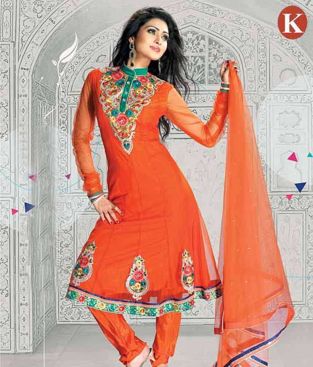 Khazana Orange Lovely Heavy Embroidered Salwar Suits