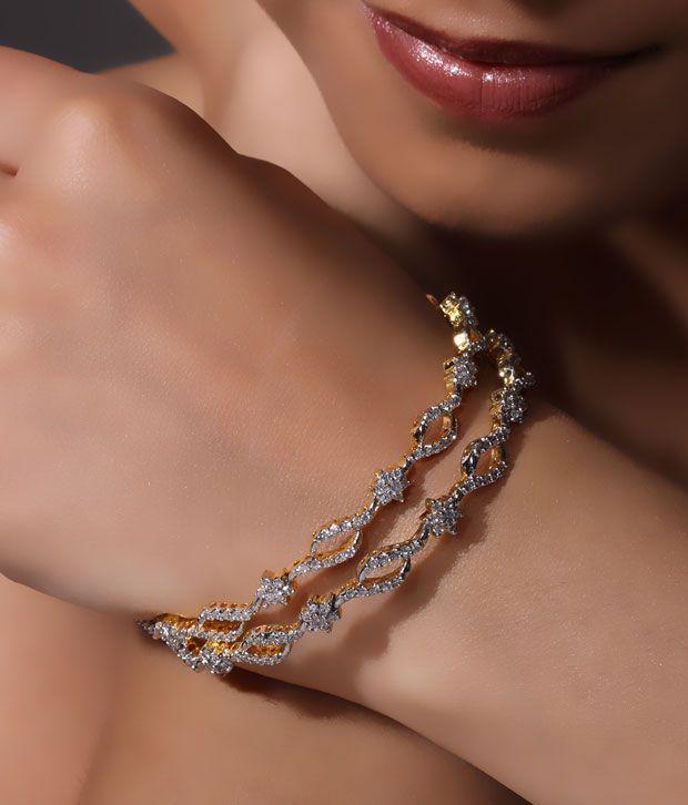 NJE Charismatic American Diamond Bangle Pair