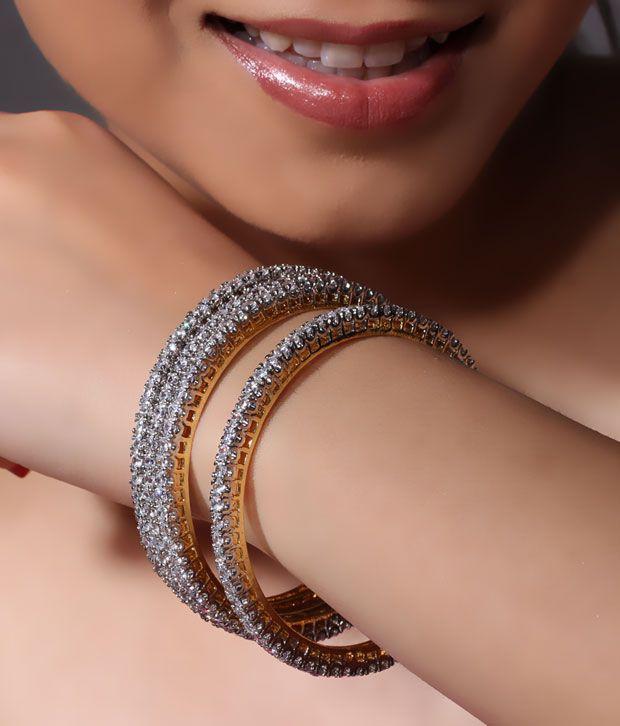 NJE Dainty American Diamond Bangle Pair