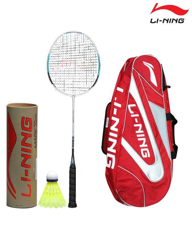 Li-Ning HC 1050 Badminton Racket + Li-Ning Shuttlecock Mark-X-800 (Nylon) + Li-Ning Kit Bag ABJE 138 - 6 in 1