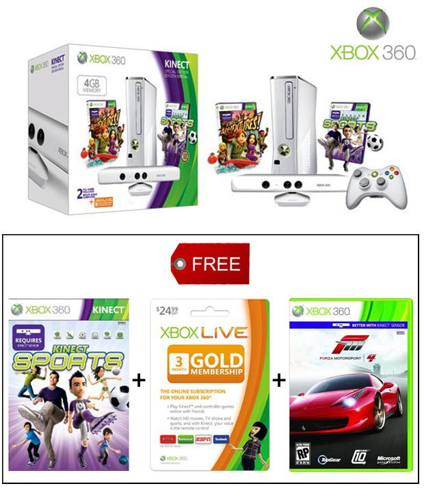 Xbox 360 4GB Special Edition Kinect Family Bundle (White)
