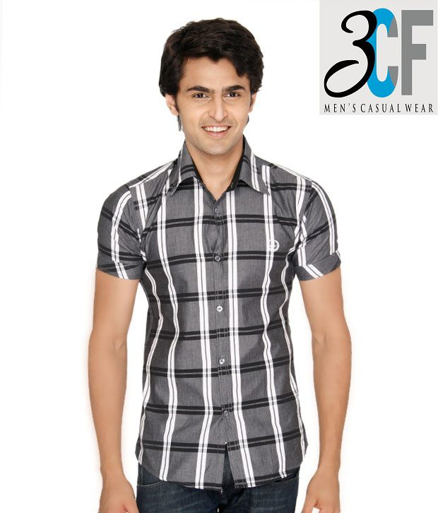 3CF Grey-Black Checkered Shirt