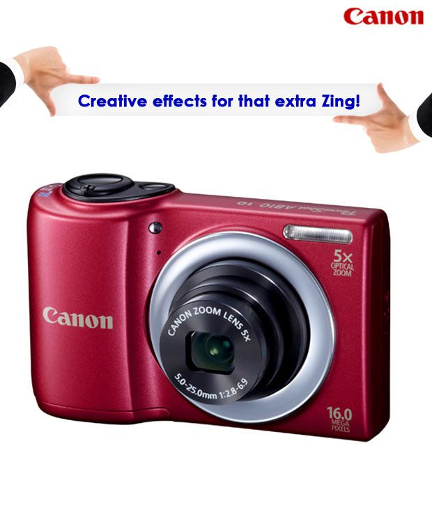 Canon PowerShot A810 16MP Point & Shoot Digital Camera (Red)