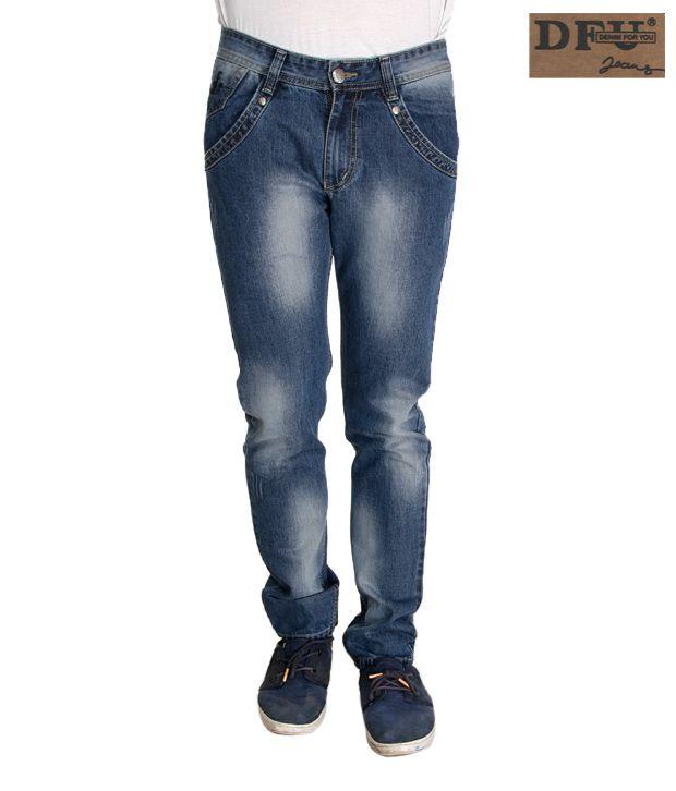 DFU Narrow Fit Shaded Light Blue Jeans