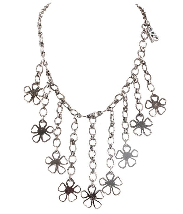 Embellish Floral Silver Chain Necklace