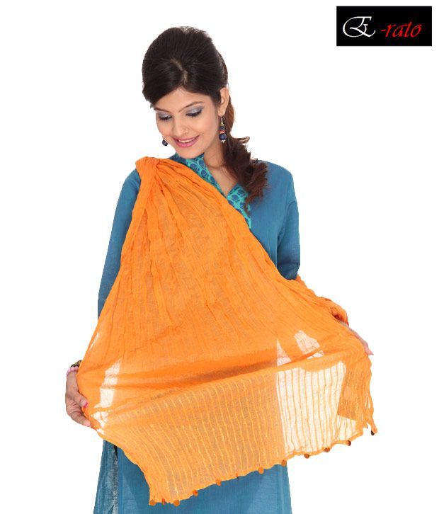 Erato Orange Crinkle Cotton Dupatta