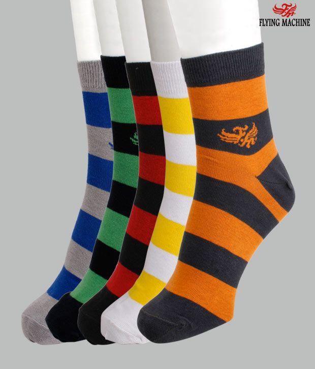 Flying Machine Pack Of 5 Multi Coloured Socks
