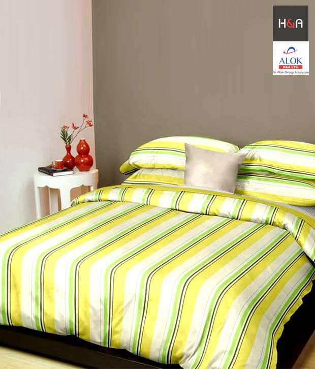 H&A Striped Cotton Double Bed Sheet