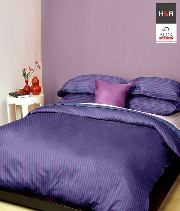 h a fabulous red violet small stripes double bed sheet. Black Bedroom Furniture Sets. Home Design Ideas