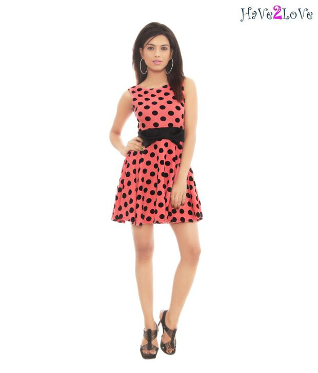 Have2Love Peach-Black Polka Bimbette Dress