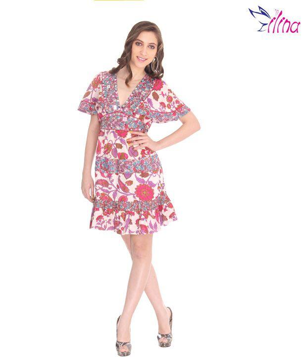 Ilina Batwing Floral Pink-Purple Short Dress