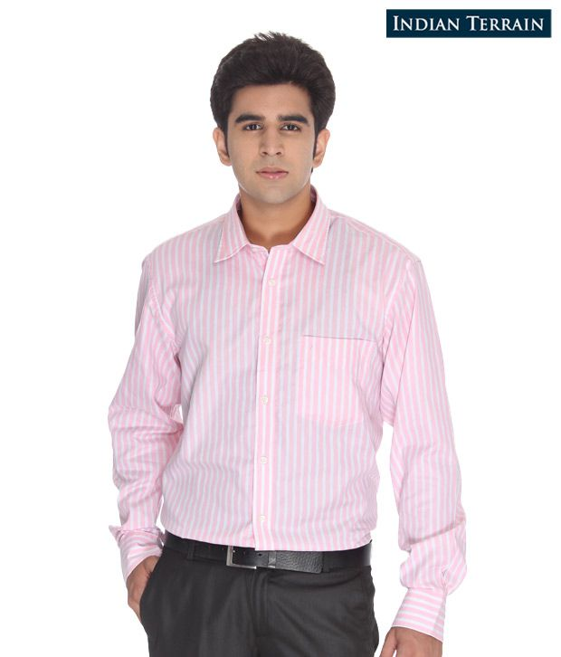 Indian Terrain Light Pink Striped Shirt